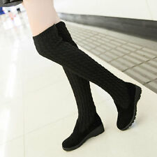 Korean Top New Women's Knitted Stretchy Flat Heel Over The Knee High Boots Cool