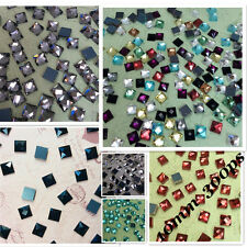 10*10mm Square Flatback Rhinestones Crystal Glass Chatons Mercury Plate 300ps