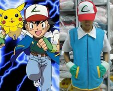 UK stock Pokemon Ash Ketchum Trainer Costume Shirt Jacket gloves+hat +ball 4 set