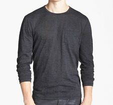 NWT more sizes - JOHN VARVATOS STAR USA - LS Charcoal Burnout Pocket Tee was $98