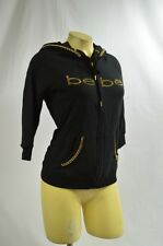 BEBE sweat shir  top longsleeve crystal logo black jacket zip down hoodie 240785