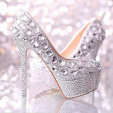 Silver Luxury Gorgeous Diamonds Platform High Heels Prom Party Wedding shoes