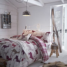 Catherine Lansfield Grampian Stag Mulberry Cotton Duvet Quilt Cover Bedding Set