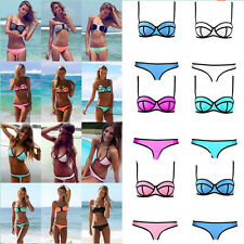 Hot Sexy S M L Women Waterproof cotton fiber triangle bikini Swimsuit Swimwear