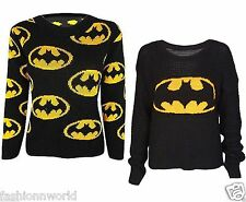 Womens Yellow Batmen Logo Print Ladies Knitted Sweater Jumper Pullover Top 8-14