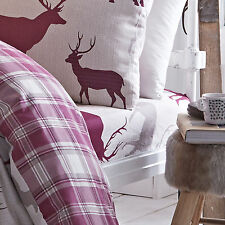 Catherine Lansfield Grampian Stag Deer Mulberry Flannelette Bedding Fitted Sheet