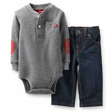 New Carter's 2 Piece Gray Thermal Elbow Patch Bodysuit & Jeans set NWT  18m 24m