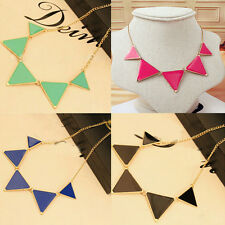 New Women Fashion Triangle Pendant Chain Choker Chunky Statement Collar Necklace