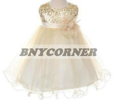 Flower Girls Dress Sequin Glitter Beaded Satin Party Pageant Wedding Formal Baby