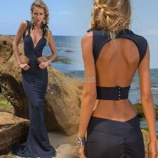 Sexy Women Deep V Sleeveless Backless Evening Long Maxi Party Cocktail Dress EP9