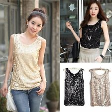 Women Lady Shiny Sequin Top Tank Round Neck Sleeveless Blouse Bling Vest T-Shirt