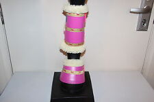 Capriole Horse Pink & Gold horse ribbon Bell boots Paddock work boots sets x 2