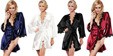 Luxury Women Nightwear Satin Dressing Gown Robe Kimono Sleepwear Lingerie
