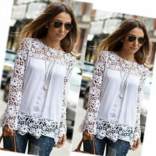 Fashion Lady Sheer Sleeve Embroidery Lace Crochet Tee Chiffon Shirt Top Blouse