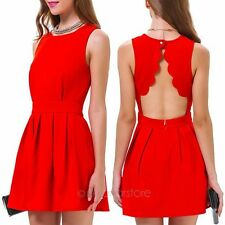 Elegant Women Scallop Pleated BodyCon Backless Sexy Party Cocktail MINI Dress UK