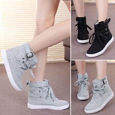Women Lace Up Sneakers Buckle Strap Hiking Flats Ankle Boots Sports Shoes Winter