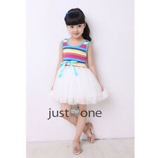 F 3-9 Years Old Girls chic Rainbow Vest fluffy Dress Gauze Party Holiday Dresss