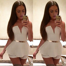 Sexy Women Lady V Neck Bodycon Jumpsuit Romper Trousers Clubwear Bandage Dress