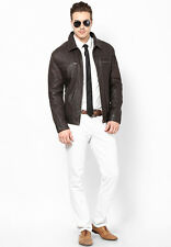 Aditi Wasan Leather Classic Jacket in Brown Color