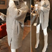 Women Korean Style Vogue Collared Wool Blend Single Breasted Parka Trench Coat