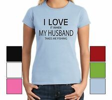 I Love When My Husband Takes Me Fishing Funny Juniors T Shirt Valentines Day Tee