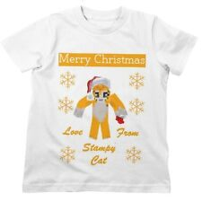 Stampy Cat MERRY CHRISTMAS Kids T Shirt Squid Nose Craft 3-13 Years Mine Long Ha