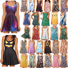Womens Sexy Skater Graphic Printing Sleeveless Pleated Chic Skirt Mini Dress