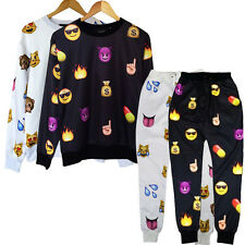 2014 Men's Women's EMOJI Print Funny Autumn Sweatshirt Tops 3D Jogger Pants S-XL