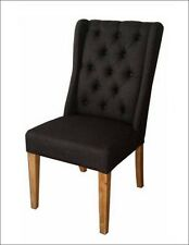 NEW - Dining Chair - 'Manhattan'  Buttoned  Back - Flaxen/ Black Colour Fabric
