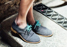 TOMS Women's Brogue Dark Grey Suede Shoes w/ Extra Laces Sz 5-10 NEW