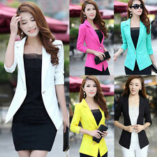 Lady Women 3/4 Sleeve One Button Lace Slim Work Blazer Suit Jacket Coat Outwear