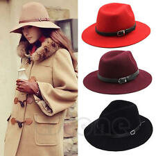 New Fashion Design Women Warm Winter Wool Belt Fedora Cap Wide Brim Cowboy Hat