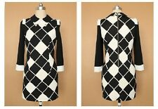Sexy Women's Autumn Peter Pan Collar Black and White Pencil Dress OL-Style