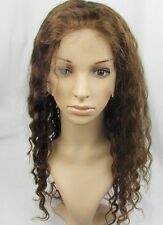 100% Remy Indian Virgin Human Hair Front Lace / Full Lace Wigs Deep Wave brown