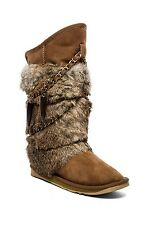 New Australia Luxe Collective Women's Rabbit Atilla Fur Boots shoes Chestnut