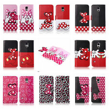 New Mickey Minnie Mouse Bow PU leather Skin Pouch Case Cover for Samsung Galaxy