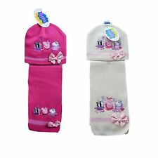 New Kids Girls Peppa Pig Hat And Scarf Official Set Warm Winter Age 2-7 Years