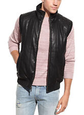 Guess Mens Black Faux Leather Pleather Vest With Camouflage Lining Jacket