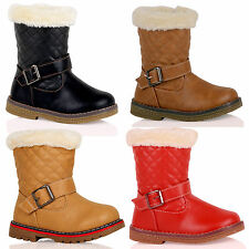 K20 Girls Quilted Fur Lined Ankle Boots Zip Up Warm Snow School Childrens Shoes