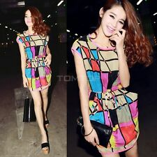 Hot Fashion Women Ladies Colorful Casual Cocktail Party Evening Short Mini Dress