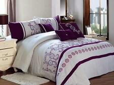 7Pcs Embroidery Purple Wintersweet Quilt Comforter Set King Queen Bed in a bag