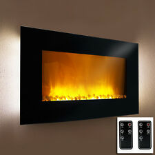 "48"" Electric Glass Fireplace Heater 1500W Color Changing LED Back Light Flame"