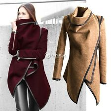 New Lady Womens Leather Windbreaker Long Trench Coat Jacket Long Outerwear DZ88