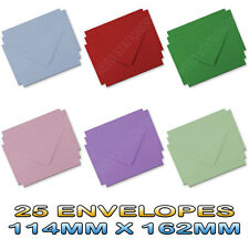 25 C6 Envelopes, 6 Colours - 114MM X 162MM Ideal For School, Home, Office