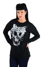 Iron Fist Emo FADED KITTY Sweater langarm Strickpullover Rockabilly - Schwarz