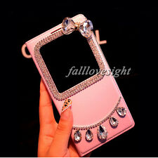 New Hot Bling Diamond View Window Leather Flip Case Cover Phone Case For Samsung
