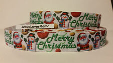 "Grosgrain Ribbon, Merry Christmas with Santa & Snowman, Ball Ornaments 7/8"" Wide"