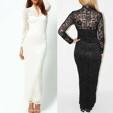 NEW Womens Clothes Dress Party Dress Cheap Plus Size XXL Lace Long-sleeved Dress