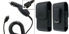 Car Charger + Vertical Leather Clip Case for SAMSUNG Cell Phones ALL CARRIERS