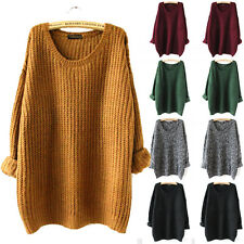 Ladies Oversized Knitted Sweater Batwing Sleeve Tops Cardigan Loose Outwear Coat
